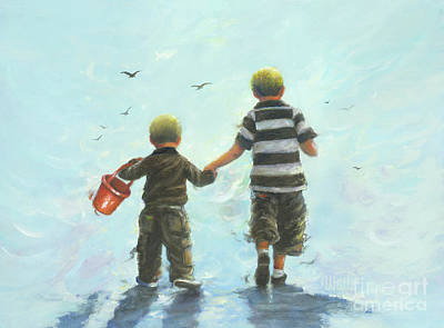 Two Little Boys Painting - Two Little Beach Boys On Light Blue by Vickie Wade