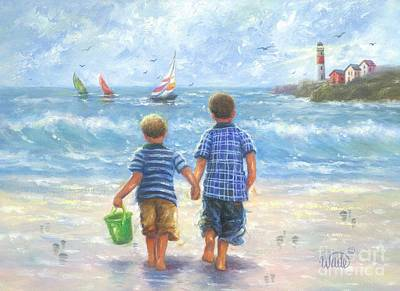 Two Little Boys Painting - Two Little Beach Boys Walking Brunette by Vickie Wade