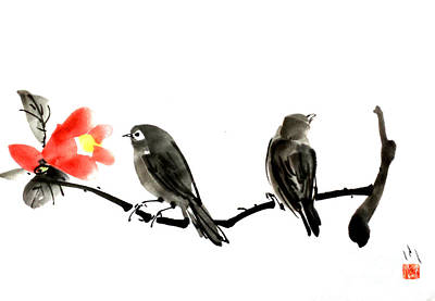 Brush Painting - Two Little Birds by Fumiyo Yoshikawa