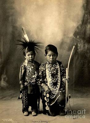 Photograph - Two Little Braves Of The Sac And Fox Tribe A Frank Rinehart Platinotype Circa 1900 by Peter Gumaer Ogden Collection