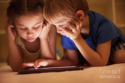 Photograph - Two Little Kids Watching Cartoons by Anna Om