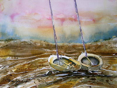 Coastal Maine Mixed Media - Two Little Sail Boats  by Shirley Sykes Bracken