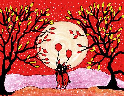 The Hills Mixed Media - Two Love Bunnys by Connie Valasco
