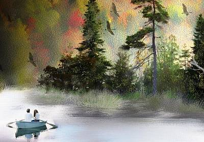 Rowboat Digital Art - Two Lovers 2 by Norma Jean Lipert