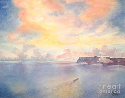 Outrigger Painting - Two Lovers Sunset -sold by Lisa Pope