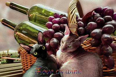 Table Wine Mixed Media - Two Loving Cats  by Ivanoel Art