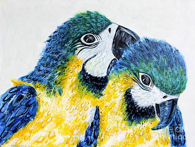 Macaw Mixed Media - Two Macaw Parrots by Kathie Nichols