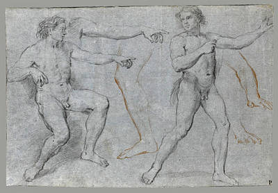 Study Of A Nude Drawing - Two Male Nudes And Separate Studies Of A Leg A Left Arm And A Right Hand by Marco Benefial
