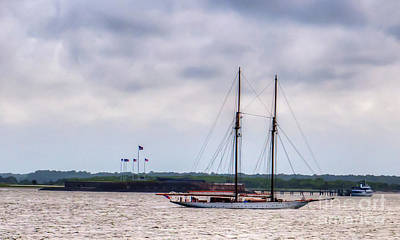 Photograph - Two Masted Schooner Sailing By Fort Sumter by Dale Powell