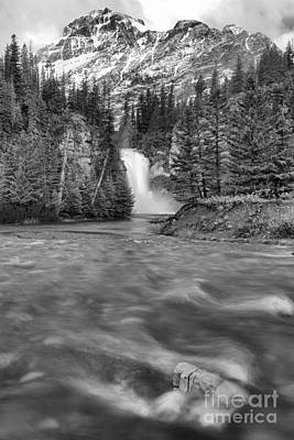 Photograph - Two Medicine Creek And Falls Black And White by Adam Jewell