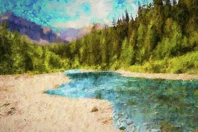 Digital Art - Two Medicine Creek Glacier Np. by Rusty R Smith