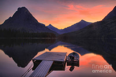 Photograph - Two Medicine Fiery Sunset by Adam Jewell