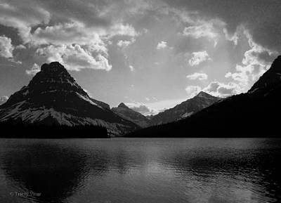 Photograph - Two Medicine Lake, Black And White by Tracey Vivar