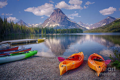 Photograph - Two Medicine Lake Reflections by Priscilla Burgers