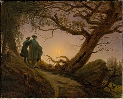 Abstract Shapes Janice Austin - Two Men Contemplating the Moon, Caspar David Friedrich by Caspar David Friedrich