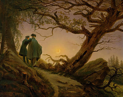 Painting - Two Men Contemplating The Moon by Caspar Friedrich