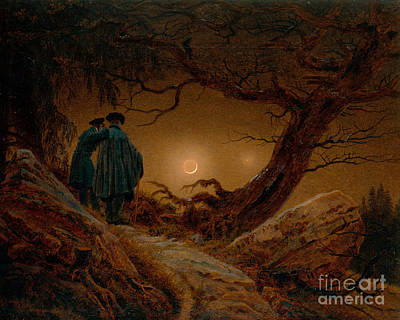 Man Painting - Two Men Contemplating The Moon by Celestial Images