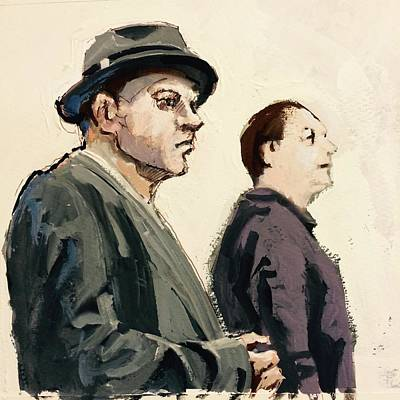 Gouache Digital Art - Two Men by H James Hoff