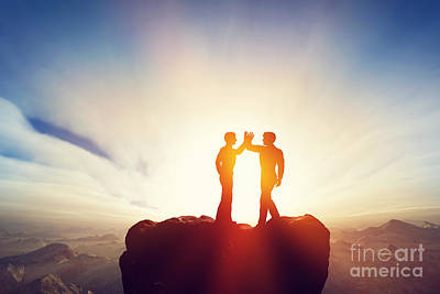 Hand Photograph - Two Men High Five On Top Of The Mountains by Michal Bednarek