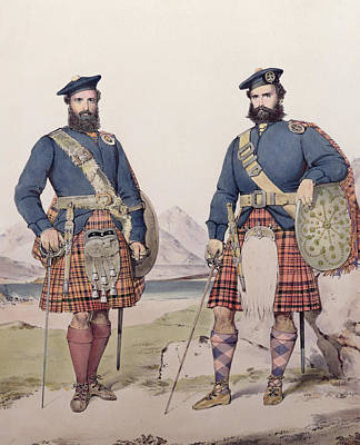 Native Drawing - Two Men In Highland Dress by Kenneth Macleay