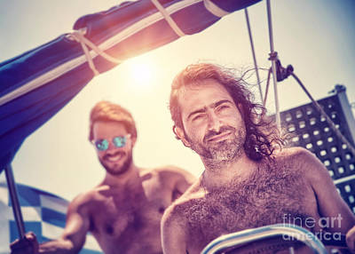 Photograph - Two Men On Sailboat by Anna Om