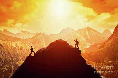Mountain Photograph - Two Men Running Race To The Top Of The Mountain. Competition, Rivals, Challenge by Michal Bednarek