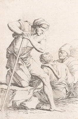 Relief - Two Men Sitting And Another Man Holding A Staff Kneeling On A Rock by Salvator Rosa
