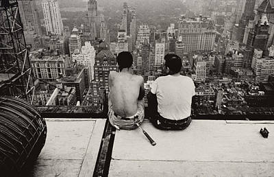 Sites Photograph - Two Men Sitting On A Scaffold Overlooking Manhattan by Nat Herz