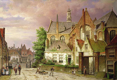 Cobblestone Painting - Two Men With A Cart by Willem Koekkoek
