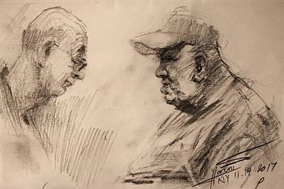 Figure Drawing - Two Men by Ylli Haruni