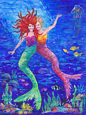 Painting - Two Mermaids  By Peggy Johnson by Peggy Johnson