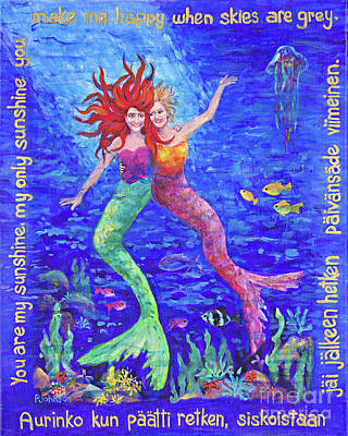 Two Mermaids You Are My Sunshine By Peggy Johnson Art Print