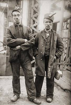 Two Miners Leaving Entrance Of Coal Art Print by Everett