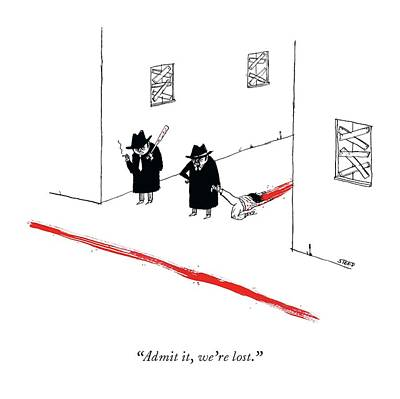 Drawing - Two Mobsters Lost, Dragging A Dead Body And Leaving A Trail Of Blood. by Edward Steed