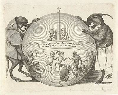 Globe Painting - Two Monkeys Holding A Globe by MotionAge Designs