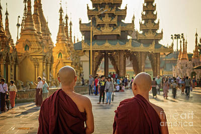 Photograph - Two Monks by Delphimages Photo Creations