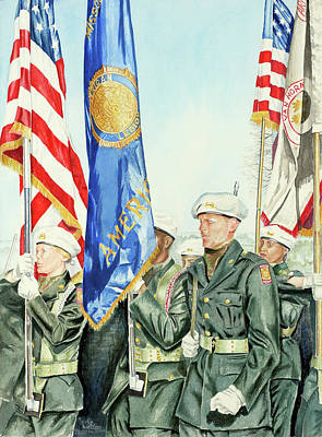 Patriotism Painting - Two Months After 9-11  Veteran's Day 2001 by Carolyn Coffey Wallace