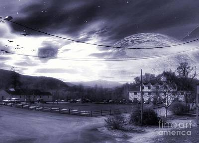 Digital Art - Two Moons Over The White House by Abbie Shores