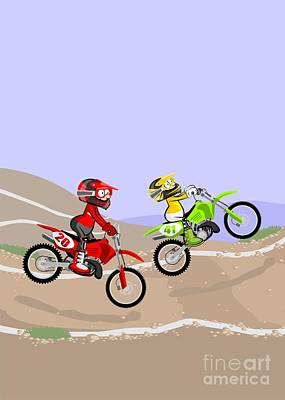Motor Digital Art - Two Motocross Riders Running A Dirt Track Race Jumping Fast On Their Powerful Motorcycles by Daniel Ghioldi
