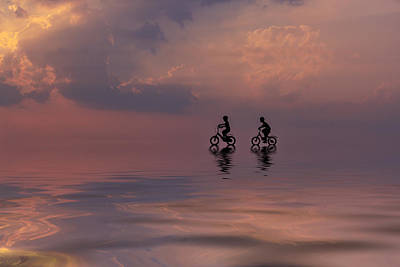 Two Mountain Biker Silhouette In Sunrise With Reflection In Water Original