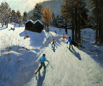 Winter Sports Painting - Two Mountain Huts by Andrew Macara
