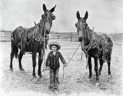 Drawing - Two Mules For Sister Evelyn by Daniel Adams