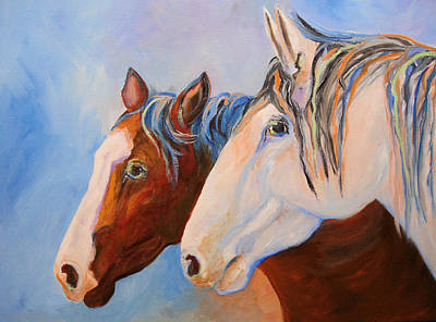 Two Mustangs Art Print by Mary Jo Zorad