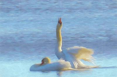 Digital Art - Two Mute Swans Enjoying Life. by Rusty R Smith