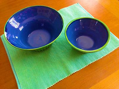 Ceramic Art - Two Nesting Bowls In Electric Blue And Spring Gren by Polly Castor