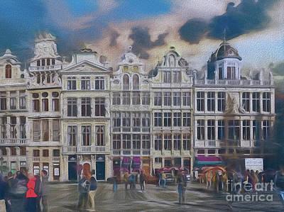 Digital Art - Two Nights In Brussels 17 - La Grande Place by Leigh Kemp