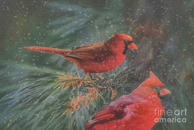 Photograph - Two Northern Cardinals In Snowstorm by Janette Boyd