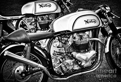 Sixties Photograph - Two Norton Cafe Racers by Tim Gainey