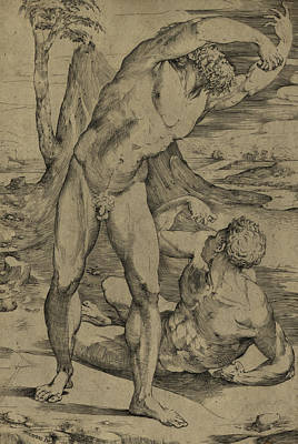Anatomy Drawing - Two Nude Men  One Standing, One Reclining by Domenico Beccafumi