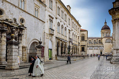 Photograph - Two Nuns In Luza Square, Dubrovnik, Croatia by Global Light Photography - Nicole Leffer